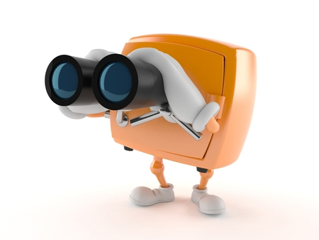 Safe character looking through binoculars isolated on white background