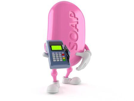 Personagem de sabão segurando o leitor de cartão de crédito isolado no fundo branco Foto de archivo - 92779810