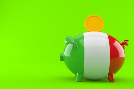 Piggy bank in italian flag with coin isolated on green background Stock Photo