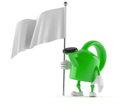 Watering can character holding white flag on white background