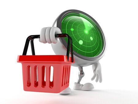 白い背景に隔離された買い物かごを保持するレーダー文字