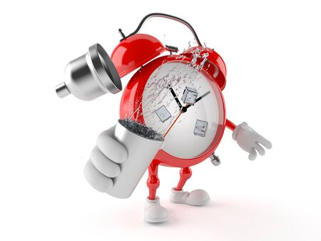 Alarm clock character holding cocktail shaker isolated on white background