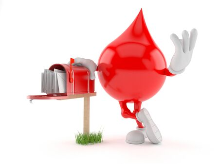 Blood drop character with mailbox isolated on white background