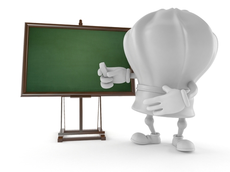 Chef character with blank blackboard isolated on white background Banque d'images