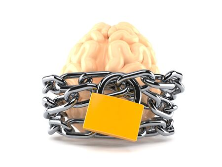 Brain with chain and padlock isolated on white background