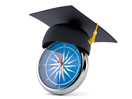 Mortarboard with compass isolated on white background 스톡 콘텐츠