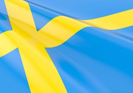 Waving swedish flag Stock Photo