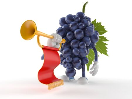 Grapes character playing the trumpet isolated on white background
