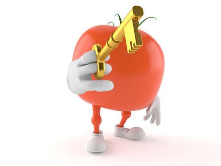 Tomato character holding door key isolated on white background