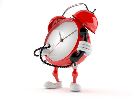 Alarm clock character holding a telephone handset isolated on white background Stock Photo