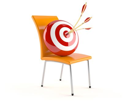 Chair with bulls eye isolated on white background Stock Photo