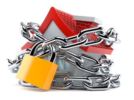 House with chain and padlock isolated on white background