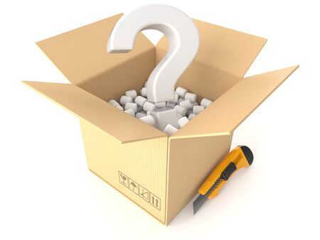 Open box with question mark isolated on white background Stock Photo