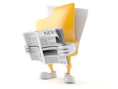 Folder character reading newspaper on white background