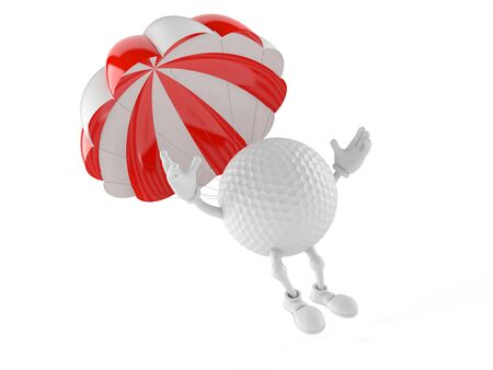 Golf ball character with parachute isolated on white background Stock Photo