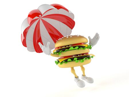 Hamburger character with parachute isolated on white background Stock Photo