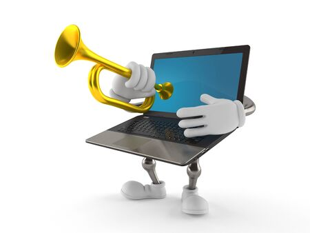 Laptop character playing the trumpet isolated on white background
