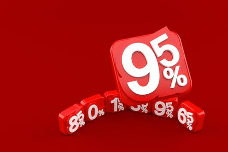 Percent numbers isolated on red background