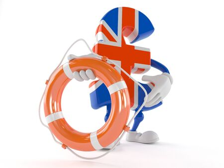 Pound currency character holding life buoy isolated on white background Stock Photo