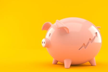 Piggy bank with progress arrow icon isolated on orange background