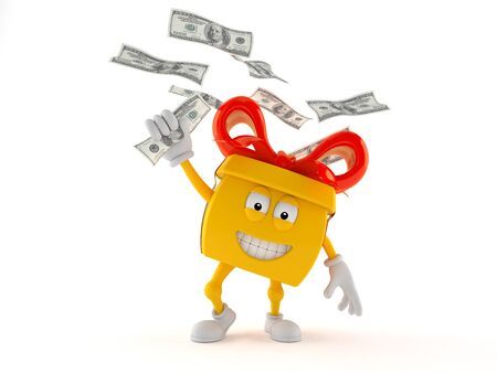 Gift character catching money isolated on white background