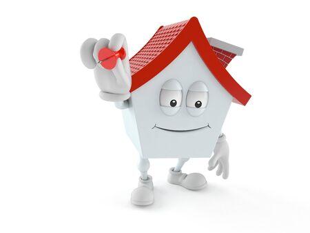 House character holding thumbtack isolated on white background