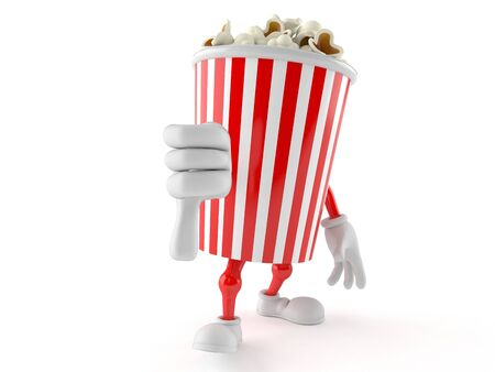 Popcorn character with thumb down isolated on white background Stock Photo