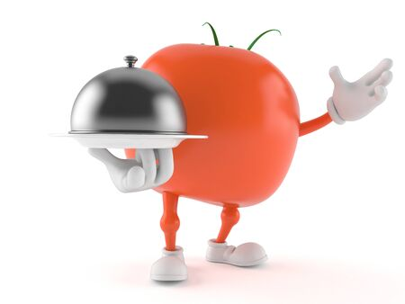 Tomato character holding catering dome isolated on white background