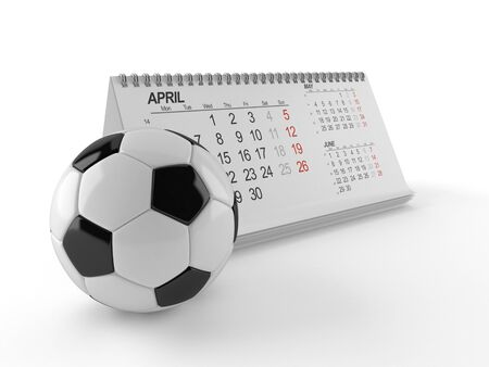 Soccer ball with calendar isolated on white background