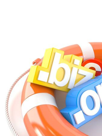 Domain names with life buoy isolated on white background Stock Photo