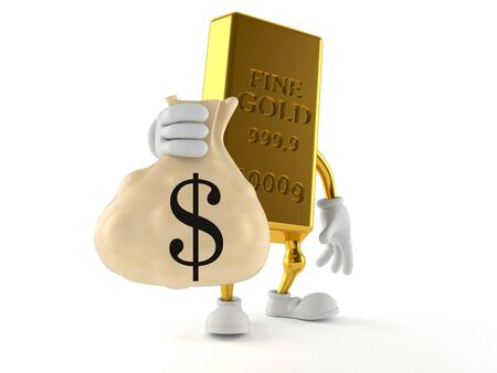 Gold character holding money bag isolated on white background Stock Photo