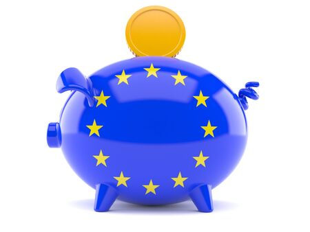 Piggy bank in eu flag isolated on white backgrond