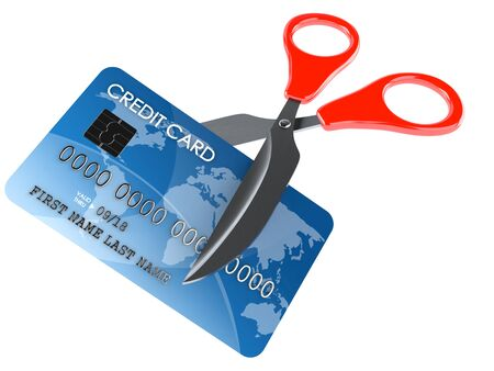 Credit card with scissors isolated on white background