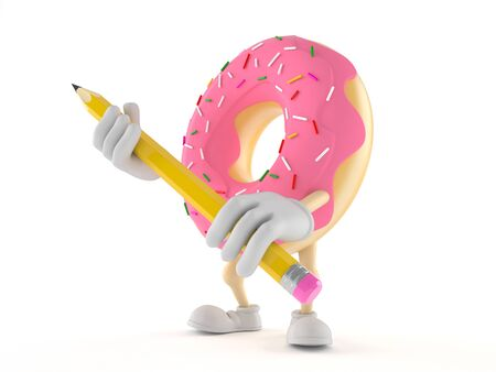 Donut character holding pencil isolated on white background