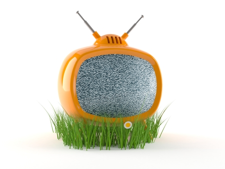 TV with grass isolated on white background