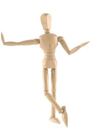 Houten pop geïsoleerd op een witte achtergrond Stockfoto