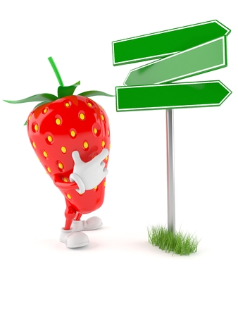 Strawberry character with blank signpost isolated on white background Stock Photo