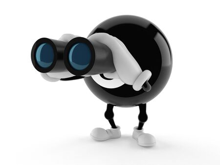 Eight ball character looking through binoculars isolated on white background