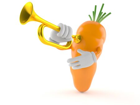Carrot character playing the trumpet isolated on white background