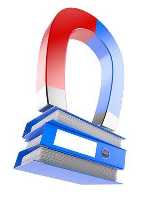 Ring binders with horseshoe magnet isolated on white background Stock Photo