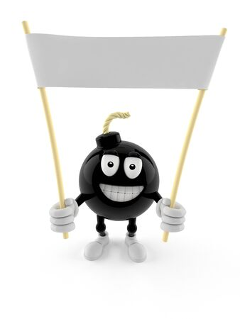 Bomb character holding blank banner isolated on white background
