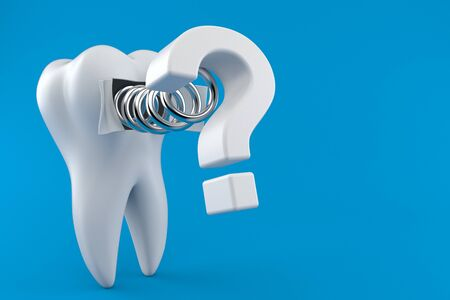 Tooth with question mark isolated on blue background