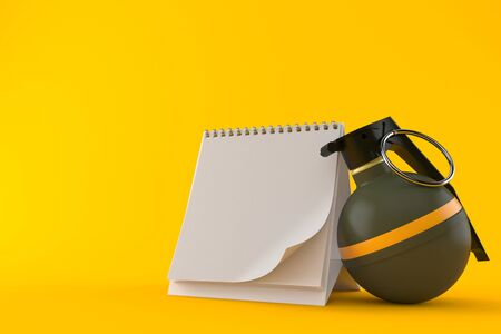 Hand grenade with blank calendar isolated on orange background