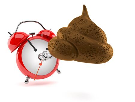 Dung poo with alarm clock isolated on white background