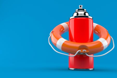 Spray can with life buoy isolated on blue background