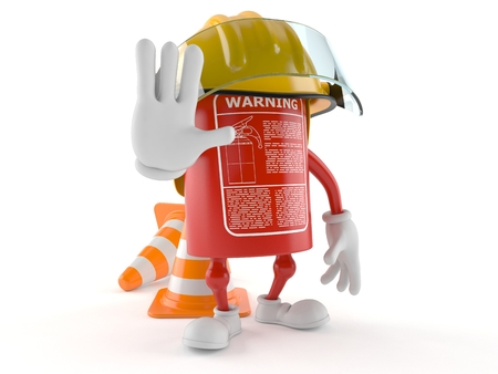 Fire extinguisher character with traffic cone isolated on white background Stock Photo