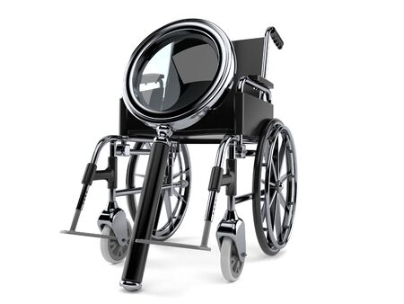 Wheelchair with magnifying glass isolated on white background