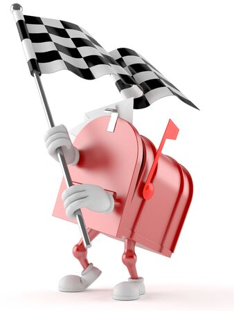 Mailbox character with racing flag isolated on white background