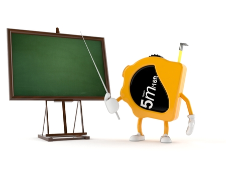Measure tape character with blackboard isolated on white background