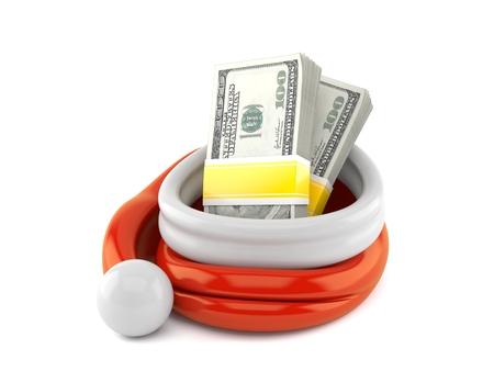 Santa hat with money isolated on white background